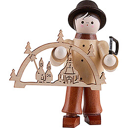 Thiel Figurine  -  Candle Arch Seller with Jigsaw  -  natural  -  6cm / 2.4 inch