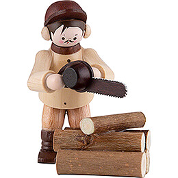 Thiel Figurine  -  Chainsaw Worker  -  natural  -  Set of Two  -  6cm / 2.4 inch