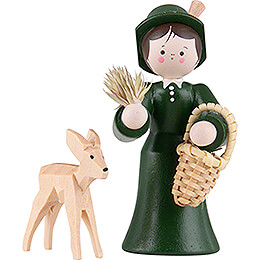 Thiel Figurine  -  Forester Lady with Deer  -  coloured  -  5,5cm / 2.2 inch