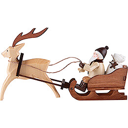 Thiel Figurine  -  Santa Claus in Reindeer Sled  -  natural  -  8,5cm / 3.3 inch
