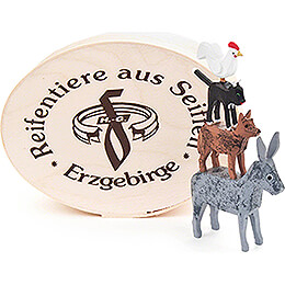 Town Musicians of Bremen in Wood Chip Box  -  5cm / 2 inch
