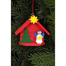 Tree Ornament  -  Angel in House  -  6,0x5,2cm / 2.4x2.0 inch