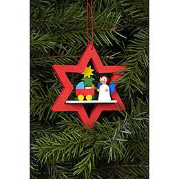 Tree Ornament  -  Angel in Star with Dolls Pram  -  6,8x7,8cm / 3x3 I