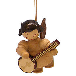 Tree Ornament  -  Angel with Banjo  -  Natural Colors  -  Floating  -  5,5cm / 2,1 inch