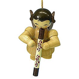 Tree Ornament  -  Angel with Didgeridoo  -  Natural Colors  -  Floating  -  5,5cm / 2,1 inch