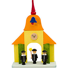Tree Ornament  -  Church with Carolers  -  9cm / 3.5 inch