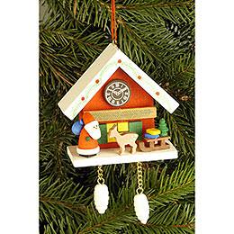 Tree Ornament  -  Cuckoo Clock Red with Niko  -  6,7x6,3cm / 2.6x2.5 inch