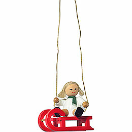 "Tree Ornament  -  ""Doll on Sleigh""  -  5cm / 2 inch"