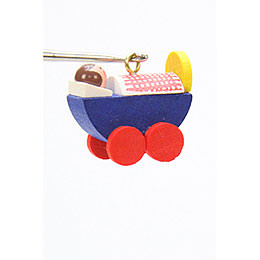 Tree Ornament  -  Dolls Pram  -  2,4 / 2,3cm  -  1x1 inch