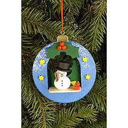 Tree Ornament  -  Globe with Snowman  -  6,7x7,4cm / 2.6x2.9 inch