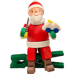 Tree Ornament  -  Gnome with Car, with Clip  -  6cm / 2.4 inch