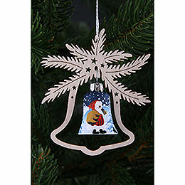 Tree Ornament  -  Hand Painted Glass Bell Santa Claus, Set of Three  -  9x8cm / 3.5x3. inch
