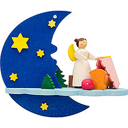 Tree Ornament  -  Moon - Cloud - Angel with Cradle  -  8cm / 3.1 inch