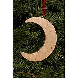 Tree Ornament  -  Moon Natural Wood  -  4,5 / 6,4cm  -  2x2 inch