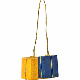 "Tree Ornament  -  ""Presents Yellow/Blue""  -  3cm / 1.2 inch"