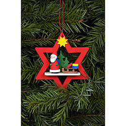 Tree Ornament  -  Santa Claus in Red Star  -  6,8 / 7,8cm  -  3x3 inch