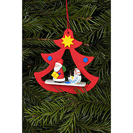 Tree Ornament  -  Santa in Tree  -  7,2x7,1cm / 3x3 inch