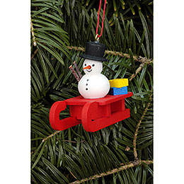 Tree Ornament  -  Sleigh with Snowman  -  5,2x4,5cm / 2.0x1.8 inch