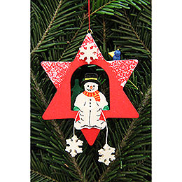 Tree Ornament  -  Snowman in Star  -  9,5x9,5cm / 3.7x3.7 inch