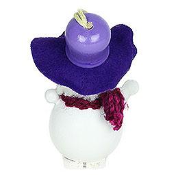 Tree Ornament  -  Snowman with Purple Hat  -  9cm / 3.5 inch