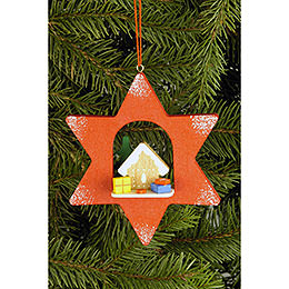 Tree Ornament  -  Star with Ginger Bread  -  9,5x9,5cm / 3.7x3.7 inch