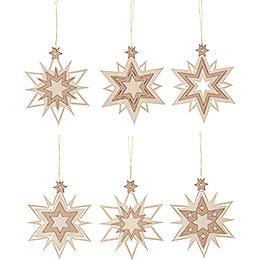 Tree Ornament  -  Stars  -  Set of 6  -  7cm / 2.8 inch