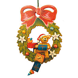 Tree Ornament  -  Teddy Christmas Wreath  -  10cm / 4 inch