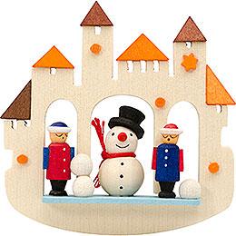 Tree Ornament  -  Town Gate Snowmann, Natural  -  7cm / 2.8 inch