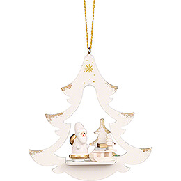 Tree Ornament  -  Tree White with Santa Claus  -  8,7cm / 3.4 inch