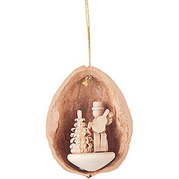 Tree Ornament  -  Walnut Shell Musician with Guitar  -  4,5cm / 1.8 inch