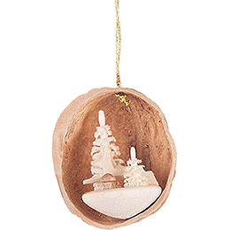 Tree Ornament  -  Walnut Shell with Deer  -  4,5cm / 1.8 inch