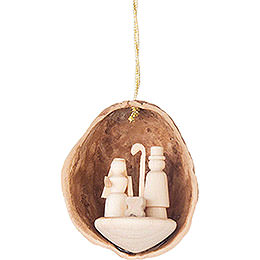 Tree Ornament  -  Walnut Shell with Nativity  -  4,5cm / 1.8 inch