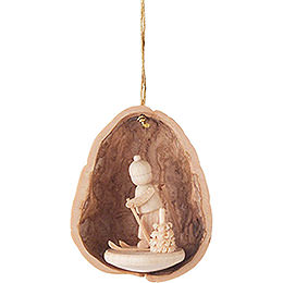 Tree Ornament  -  Walnut Shell with Skier  -  4,5cm / 1.8 inch