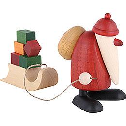 Weihnachtsmann mit Geschenkeschlitten  -  9cm