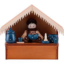 Weihnachtsmarktbude Blaue Keramik mit Thiel - Figur  -  8cm