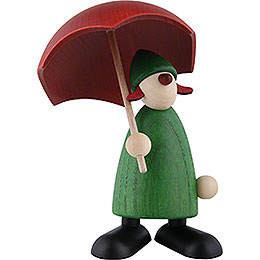 Well - Wisher Charlie with Umbrella, Green  -  9cm / 3.5 inch