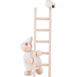 Wicht mit Leiter und Vogel  -  weiß  -  20cm