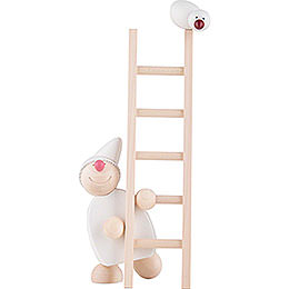 Wight with Ladder and Bird  -  White  -  20cm / 8 inch