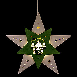 "Window Picture Star ""Oh Christmas Tree"" White/Green LED  -  30,5x29x6cm / 12x11.4x2.4 inch"