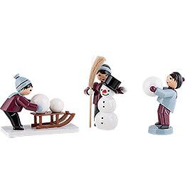 Winter Children Snowman Children  -  3 pcs.  -  purple  -  7cm / 2.8 inch